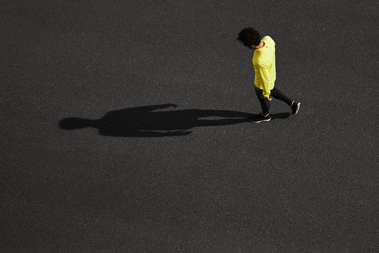 Unrecognizable Runner Standing At Side Position. Top View Joggin